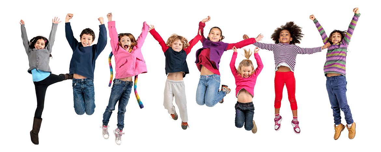 Glückliche springende Kinder